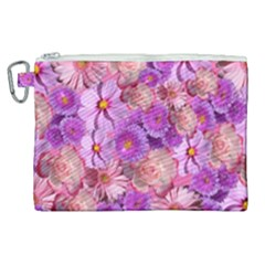 Flowers Blossom Bloom Nature Color Canvas Cosmetic Bag (xl)