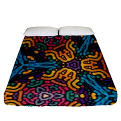 Grubby Colors Kaleidoscope Pattern Fitted Sheet (queen Size) by Sapixe