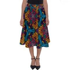Grubby Colors Kaleidoscope Pattern Perfect Length Midi Skirt by Sapixe
