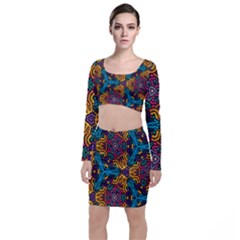 Grubby Colors Kaleidoscope Pattern Long Sleeve Crop Top & Bodycon Skirt Set