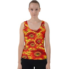 Gerbera Flowers Nature Plant Velvet Tank Top