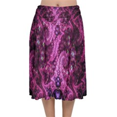 Fractal Art Digital Art Velvet Flared Midi Skirt