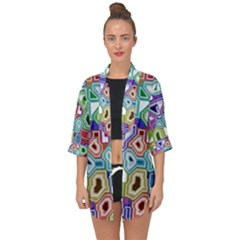 Board Interfaces Digital Global Open Front Chiffon Kimono