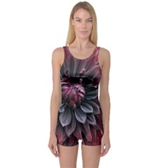 Flower Fractals Pattern Design Creative One Piece Boyleg Swimsuit