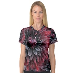 Flower Fractals Pattern Design Creative V Neck Sport Mesh Tee