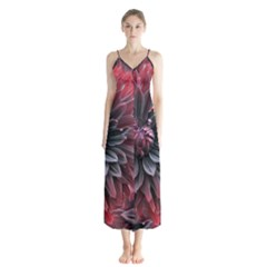 Flower Fractals Pattern Design Creative Button Up Chiffon Maxi Dress