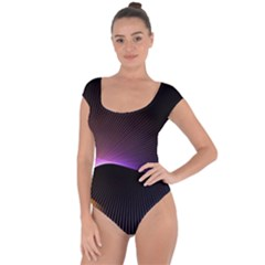 Star Graphic Rays Movement Pattern Short Sleeve Leotard