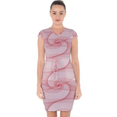 Red Pattern Abstract Background Capsleeve Drawstring Dress