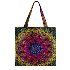 Background Fractals Surreal Design Zipper Grocery Tote Bag by Sapixe