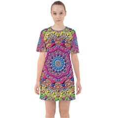 Background Fractals Surreal Design Sixties Short Sleeve Mini Dress