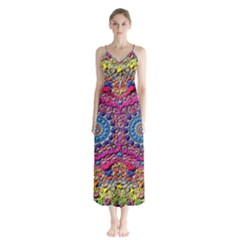 Background Fractals Surreal Design Button Up Chiffon Maxi Dress
