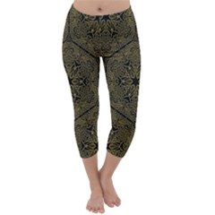 Texture Background Mandala Capri Winter Leggings