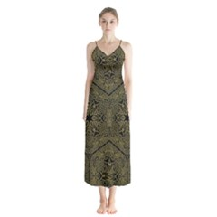 Texture Background Mandala Button Up Chiffon Maxi Dress