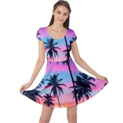 Sunset Palms Cap Sleeve Dress by goljakoff