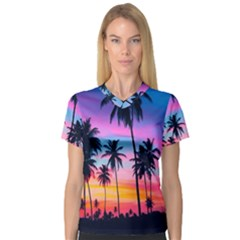 Sunset Palms V Neck Sport Mesh Tee