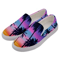 Sunset Palms Men s Canvas Slip Ons by goljakoff