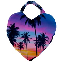 Sunset Palms Giant Heart Shaped Tote by goljakoff