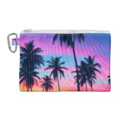 Sunset Palms Canvas Cosmetic Bag (large) by goljakoff