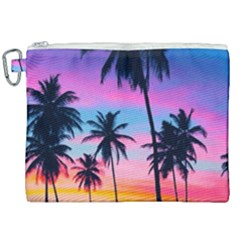 Sunset Palms Canvas Cosmetic Bag (xxl) by goljakoff