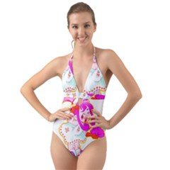 Oopsi Halter Cut Out One Piece Swimsuit
