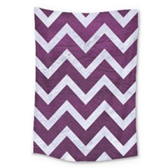 Chevron9 White Marble & Purple Leather Large Tapestry by trendistuff