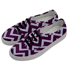 Chevron9 White Marble & Purple Leather Men s Classic Low Top Sneakers by trendistuff
