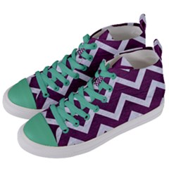 Chevron9 White Marble & Purple Leather Women s Mid Top Canvas Sneakers by trendistuff