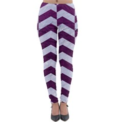 Chevron2 White Marble & Purple Leather Lightweight Leggings