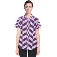 Chevron1 White Marble & Purple Leather Women s Short Sleeve Shirt