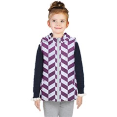 Chevron1 White Marble & Purple Leather Kid s Hooded Puffer Vest