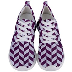 Chevron1 White Marble & Purple Leather Men s Lightweight Sports Shoes
