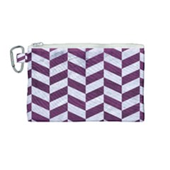 Chevron1 White Marble & Purple Leather Canvas Cosmetic Bag (medium) by trendistuff