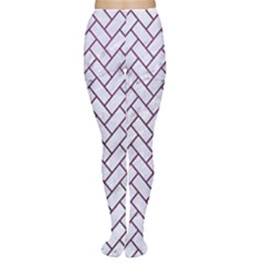 Brick2 White Marble & Purple Leather (r) Women s Tights by trendistuff