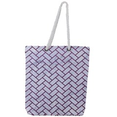 Brick2 White Marble & Purple Leather (r) Full Print Rope Handle Tote (large) by trendistuff