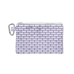 Brick1 White Marble & Purple Leather (r) Canvas Cosmetic Bag (small) by trendistuff