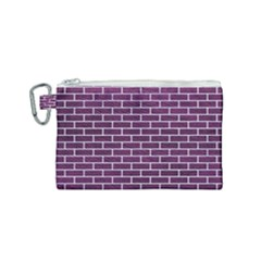 Brick1 White Marble & Purple Leather Canvas Cosmetic Bag (small) by trendistuff