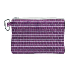 Brick1 White Marble & Purple Leather Canvas Cosmetic Bag (large)