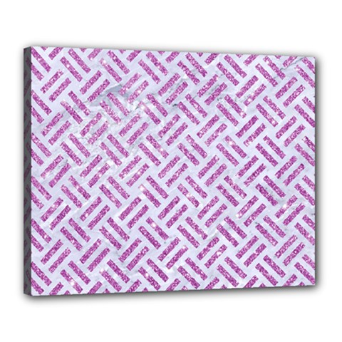 Woven2 White Marble & Purple Glitter (r) Canvas 20  X 16  by trendistuff