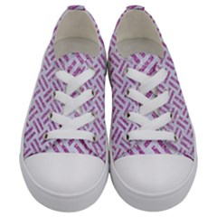 Woven2 White Marble & Purple Glitter (r) Kids  Low Top Canvas Sneakers