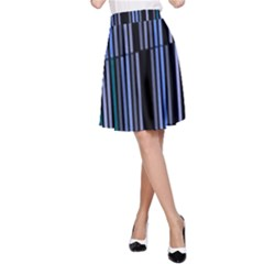 Shades Of Blue Stripes Striped Pattern A Line Skirt