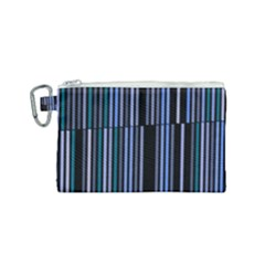 Shades Of Blue Stripes Striped Pattern Canvas Cosmetic Bag (small) by yoursparklingshop