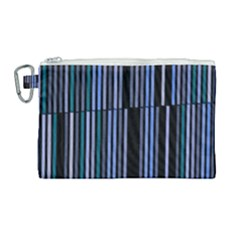 Shades Of Blue Stripes Striped Pattern Canvas Cosmetic Bag (large) by yoursparklingshop