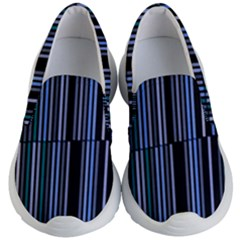 Shades Of Blue Stripes Striped Pattern Kid s Lightweight Slip Ons