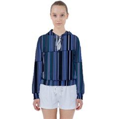 Shades Of Blue Stripes Striped Pattern Women s Tie Up Sweat by yoursparklingshop