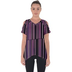 Shades Of Pink And Black Striped Pattern Cut Out Side Drop Tee
