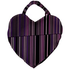 Shades Of Pink And Black Striped Pattern Giant Heart Shaped Tote by yoursparklingshop