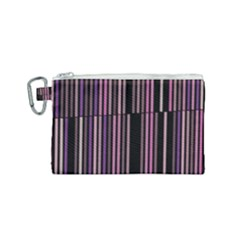Shades Of Pink And Black Striped Pattern Canvas Cosmetic Bag (small) by yoursparklingshop