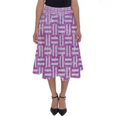 Woven1 White Marble & Purple Glitter Perfect Length Midi Skirt