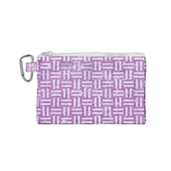 Woven1 White Marble & Purple Glitter Canvas Cosmetic Bag (small)