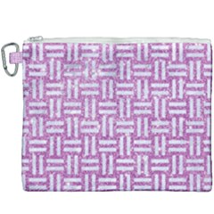 Woven1 White Marble & Purple Glitter Canvas Cosmetic Bag (xxxl) by trendistuff